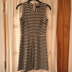 Madewell black and white striped mini dress